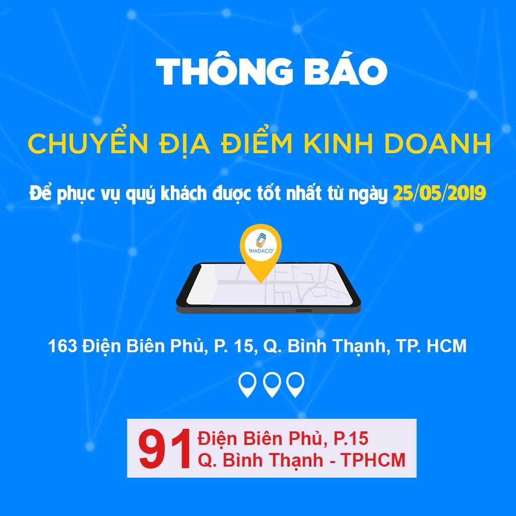 Thadaco TPHCM chuyển địa điểm kinh doanh