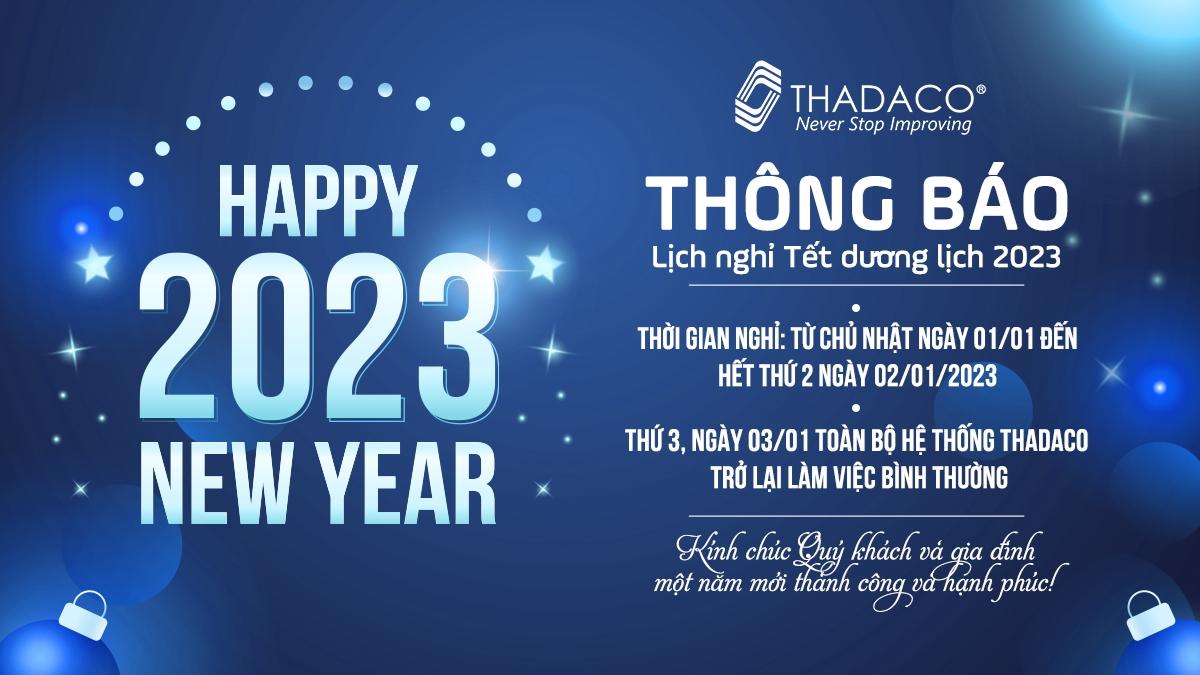Thadaco thông báo lịch nghỉ Tết Dương lịch 2021