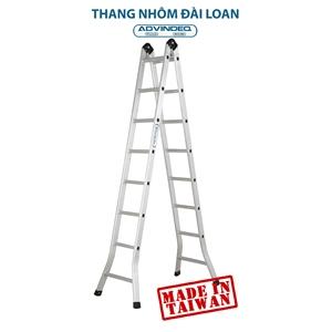 Thang nhôm đài loan gấp đa năng 2 đoạn khóa tự động Advindeq B2-165